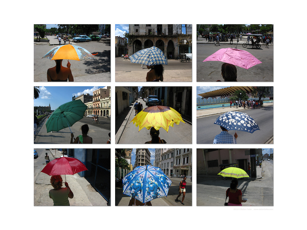 A collection of images of umbrellas in Havana, Cuba.