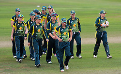 Dejection for the Australia team after defeat by 4 wickets to England Women. - Photo mandatory by-line: Harry Trump/JMP - Mobile: 07966 386802 - 21/07/15 - SPORT - CRICKET - Women's Ashes - Royal London ODI - England Women v Australia Women - The County Ground, Taunton, England.