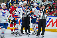 PENTICTON, CANADA - SEPTEMBER 17: Ice officials break up a player scrum on September 17, 2016 at the South Okanagan Event Centre in Penticton, British Columbia, Canada.  (Photo by Marissa Baecker/Shoot the Breeze)  *** Local Caption ***