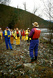 Canada, British Columbia.  Rafting through bald eagles at Brackendale.  Photo #: caneag104..Photo copyright Lee Foster, 510/549-2202, lee@fostertravel.com, www.fostertravel.com