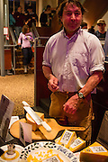 Flushing, NY - February 25, 2017. Cheesemaker John Putnum from Thistle Hill Farm of North Pomfret, Vermont, at the 2017 Charcuterie Masters at Flushing Town Hall. Their Tarentaise cheese is modelled after Abondance from the Savoie in France.