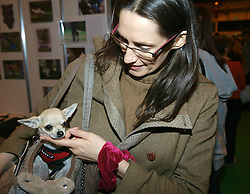 Barbara checks her 6 month old Chihuahua which she carries in her handbag, to avoid visitors to the London Pet Show in London's Earls Court to walk on the little dog, Sunday May 12 2013. Photo by: Max Nash / i-Images
