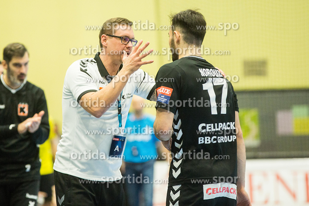Peter Kukucka, head coach of Kadetten and Pouya Norouzi of Kadetten Schaffhausen during handball match between RK Gorenje Velenje and Kadetten Schaffhausen in VELUX EHF Champions League, on November 25, 2017 in Rdeca Dvorana, Velenje, Slovenia. Photo by Ziga Zupan / Sportida