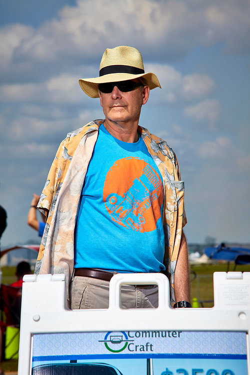 """The images in this section are of visitors to the Commuter Craft booth at Sun 'n Fun in the spring of 2018.  I call 'em """"Tire Kickers,"""" as most read the sandwich board information, and moved on.  All of the images were created by using a Profoto strobe, and a Profoto Magnum reflector to balance the harsh Florida sun.  Created by aviation photographer John Slemp of Aerographs Aviation Photography. Clients include Goodyear Aviation Tires, Phillips 66 Aviation Fuels, Smithsonian Air & Space magazine, and The Lindbergh Foundation.  Specialising in high end commercial aviation photography and the supply of aviation stock photography for commercial and marketing use."""