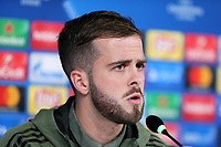 Miralem Pjanic of Juventus FC  during the Juventus FC press conference on the eve of the UEFA Champions League football match between Juventus FC and Fc Barcelona .