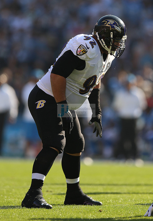 Baltimore Ravens defensive tackle Haloti Ngata (92) in action against the San Diego Chargers during an NFL game on Sunday, November 25, 2012 in San Diego, CA.  (Photo by Jed Jacobsohn)