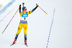 March 10, 2019 - –Stersund, Sweden - 190310 Mona Brorsson of Sweden thanks the supporters at the final stretch during the Women's 10 km Pursuit during the IBU World Championships Biathlon on March 10, 2019 in Östersund. 10, 2019 in Östersund..Photo: Johan Axelsson / BILDBYRÃ…N / Cop 245 (Credit Image: © Johan Axelsson/Bildbyran via ZUMA Press)