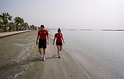 LARNACA, CYPRUS - Monday, March 5, 2018: Wales' Kayleigh Green and Rachel Rowe during a pre-match team walk around the Palm Beach Hotel & Bungalows in Larnaca ahead of the game against Switzerland on day seven of the Cyprus Cup tournament. (Pic by David Rawcliffe/Propaganda)