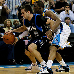 12 April 2009: New Orleans Hornets guard Chris Paul (3) swats the ball away from Dallas Mavericks guard Jose Juan Barea (11) during a 102-92 victory by the New Orleans Hornets over the Dallas Mavericks on Easter Sunday at the New Orleans Arena in New Orleans, Louisiana.