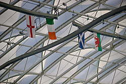 EDINBURGH, SCOTLAND - Sunday, October 30, 2016: Flags of Northern Ireland, Republic of Ireland, Scotland and Wales hang from the roof of the Astrodome during the opening match of the Under-16 2016 Victory Shield between Scotland and Northern Ireland at ORIAM. (Pic by David Rawcliffe/Propaganda)
