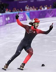 PYEONGCHANG, Feb. 17, 2018  Samule Girard of Canada celebrates after finishing men's 1000m final of short track speed skating at 2018 PyeongChang Winter Olympic Games at Gangneung Ice Arena, Gangneung, South Korea, Feb.17, 2018. Samule Girard claimed champion in a time of 1:24.650. (Credit Image: © Han Yan/Xinhua via ZUMA Wire)