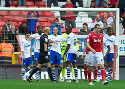 LONDON, ENGLAND - Saturday, October 8, 2011: Tranmere Rovers' players look dejected after Referee Mr Drysdale awards Charlton Athletic a penalty during the Football League One match at The Valley. (Pic by Gareth Davies/Propaganda)