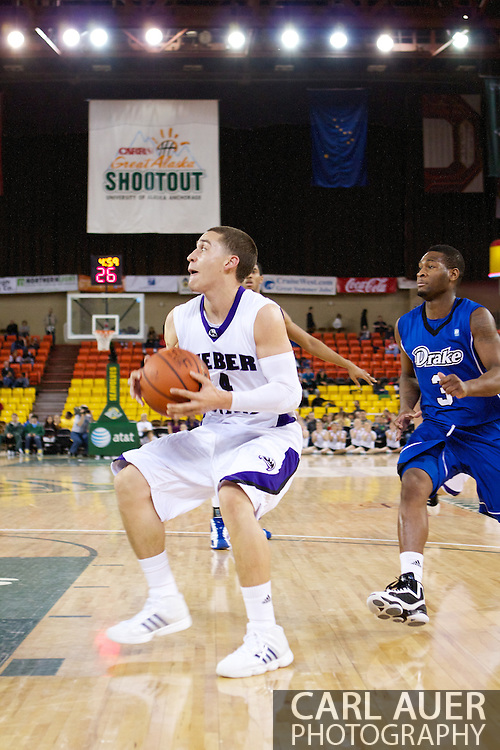 November 27th, 2010:  Anchorage, Alaska - Weber State sophomore Scott Bamforth (4) heads to the basket for a shot in the Wildcat 82-81third place game victory over the Drake Bulldogs at the Great Alaska Shootout.