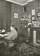 'Ernest William  (E.W.) Hornung (1866-1921) English poet, journalist, and novelist. Creator of the gentleman thief A.J. Raffles who appeared in a number of novels. Hornung in his study in Pitt Street, London.'