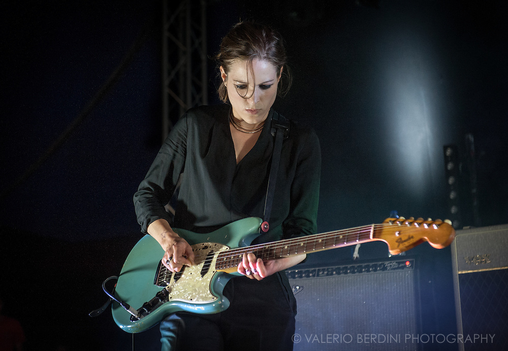 Gemma Thompson of Savages live on stage at Field Day 2015 in Victoria Park, London