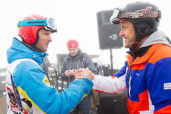 Andrej Jerman and Jure Kosir during last race of A.  Jerman, Slovenian best downhill skier when he finished his professional alpine ski career on April 6, 2013 in Krvavec Ski resort, Slovenia. (Photo By Vid Ponikvar / Sportida)
