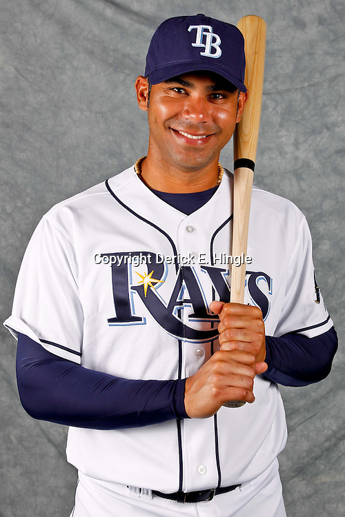 February 29, 2012; Port Charlotte, FL, USA; Tampa Bay Rays first baseman Carlos Pena (23) poses for a portrait during photo day at Charlotte Sports Park.  Mandatory Credit: Derick E. Hingle-US PRESSWIRE