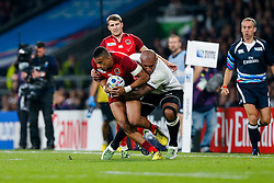 England Winger Anthony Watson is tackled by Fiji Winger Nemani Nadolo - Mandatory byline: Rogan Thomson/JMP - 07966 386802 - 18/09/2015 - RUGBY UNION - Twickenham Stadium - London, England - England v Fiji - Rugby World Cup 2015 Pool A.