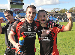 Swinford's Michael Prendergast and Aidan McLoughlin celebrate the junior B final win at McHale Park on sunday.<br /> Pic Conor McKeown