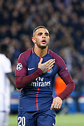 Layvin Kurzawa (psg) scored a goal and celebrated it during the UEFA Champions League, Group B, football match between Paris Saint-Germain and RSC Anderlecht on October 31, 2017 at Parc des Princes stadium in Paris, France - Photo Stephane Allaman / ProSportsImages / DPPI