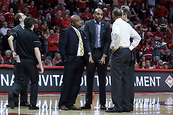 20 March 2017:  Knights coaching staff during a College NIT (National Invitational Tournament) 2nd round mens basketball game between the UCF (University of Central Florida) Knights and Illinois State Redbirds in  Redbird Arena, Normal IL<br /> <br /> Jamill Jones - shoulder shrug in center of photo