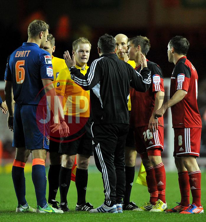 Bristol City Manager, Derek McInnes confronts Referee Gavin Ward on the final whistle - Photo mandatory by-line: Joe Meredith/JMP  - Tel: Mobile:07966 386802 17/11/2012 - Bristol City v Blackpool - SPORT - FOOTBALL - Championship -  Bristol  - Ashton Gate Stadium -