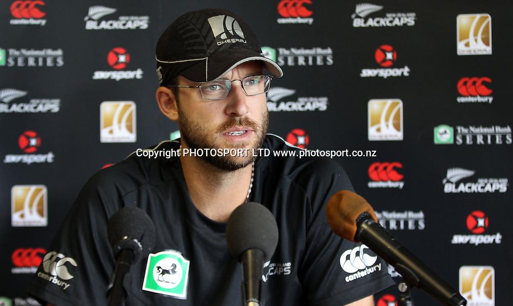 New Zealand Cricket Captain Daniel Vettori talks to the media before a training session at Nelson Park, Napier, Monday 31 January 2011. Photo: Andrew Cornaga/photosport.co.nz