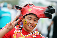 Fans and atmosphere - Ferrari fan.<br /> Japanese Grand Prix, Sunday 5th October 2014. Suzuka, Japan.