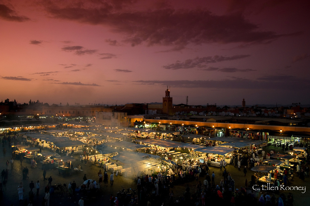 Food stalls at dusk in the main square, Jemaa el Fna in Marrakech, Morocco