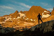 Enjoying the sunrise at the base of Ritter peak as seen from the headwaters above Nydiver Lake in the Ansel Adams wilderness. This was day 4 of a 5 day cross country route that was a version on the popular Minaret Lake-Thousand Island Lake loop.