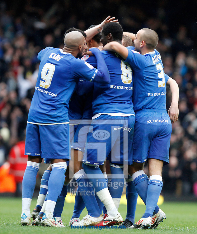 Picture by Daniel Chesterton/Focus Images Ltd. 07966 018899.09/04/12.Birmingham City players celebrate after Curtis Davies of Birmingham City scores their third goal during the Npower Championship match at the Boleyn Ground stadium, London.