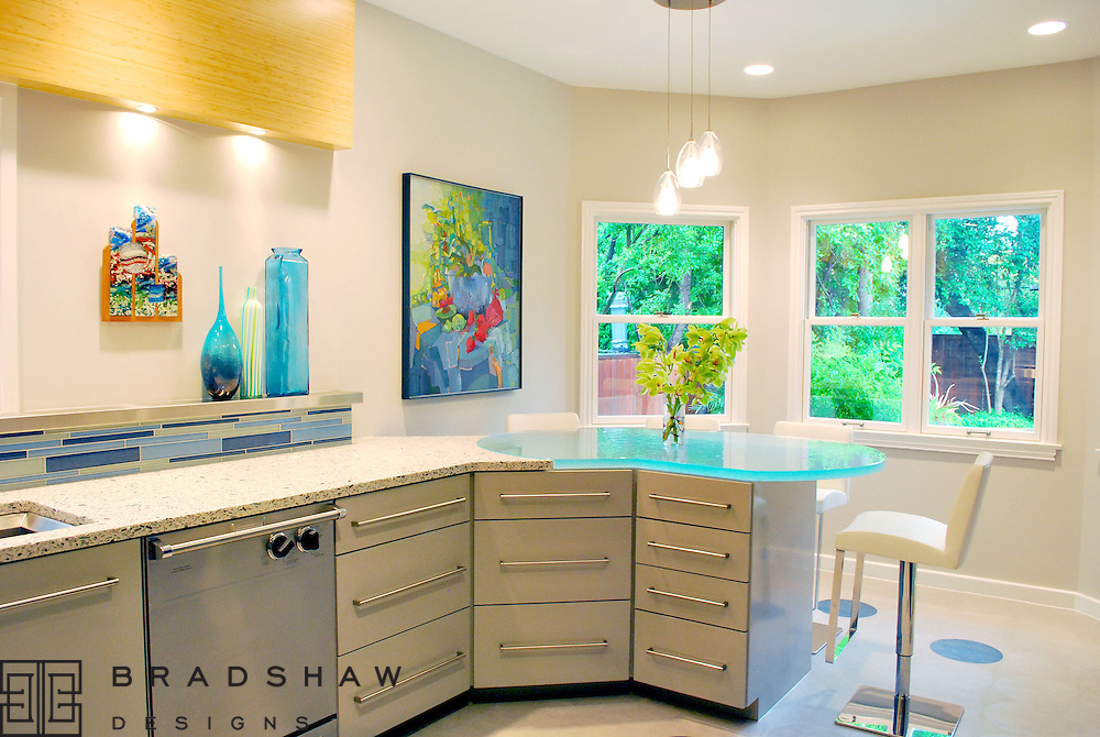 Olmos Park kitchen is modern blue light bright and fresh.  A magazine favorite. Bradshaw Designs kitchen designers in San Antonio Texas.
