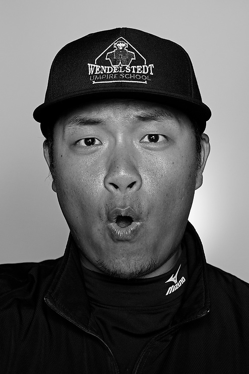 DAYTONA BEACH, FL - FEBRUARY 2, 2016:  Portraits of umpires calling a strike at the Harry Wendelstedt Umpire School in Daytona Beach, Fla.: Jarvis Wu, 32, of Taiwan is an umpire in the CPBL.  (Photo by Melissa Lyttle)