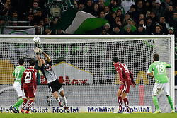 17.12.2011,Volkswagen Arena, Wolfsburg, GER, 1.FBL, VFL Wolfsburg vs VfB Stuttgart, im Bild Torwart Sven Ulreich (Stuttgart #1) kann den Kopfball von Mario Mandzukic (Wolfsburg #18) halten // during the match from GER, 1.FBL,VFL Wolfsburg vs VfB Stuttgart on 2011/12/17, Volkswagen Arena, Wolfsburg, Germany..EXPA Pictures © 2011, PhotoCredit: EXPA/ nph/ Schrader..***** ATTENTION - OUT OF GER, CRO *****