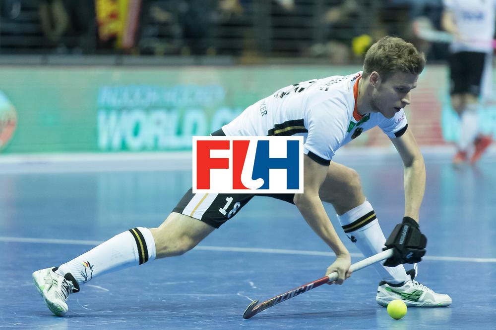 Hockey, Seizoen 2017-2018, 09-02-2018, Berlijn,  Max-Schmelling Halle, WK Zaalhockey 2018 MEN, Germany - Switzerland 3-0, Ferdinand Weinke. Worldsportpics copyright Willem Vernes