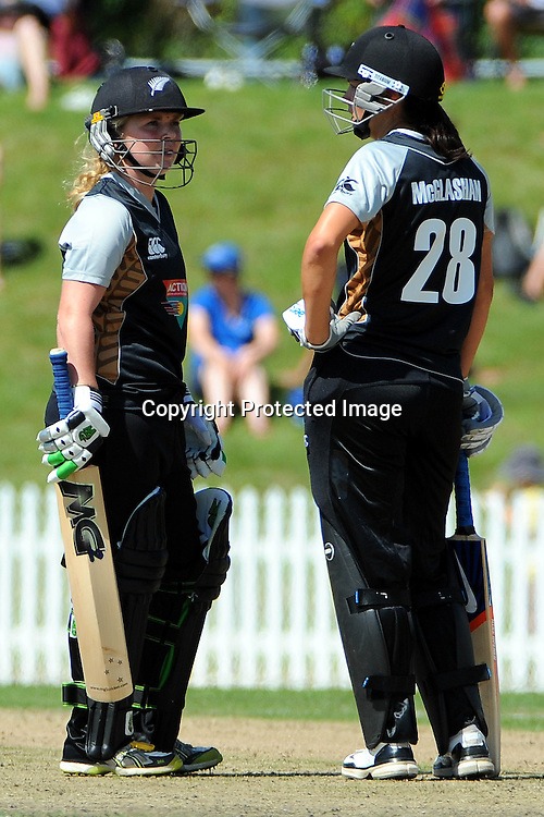 White Ferns players Lucy Doolan(L) and Sara McGlashan. New Zealand White Ferns v Australia. Women's Rose Bowl twenty/20 cricket. Saxton Oval, Nelson, New Zealand. Thursday 30 December 2010. Photo: Chris Symes / www.photosport.co.nz