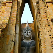 Wat Si Chum in Sukhothai. The Sukhothai kingdom was an early Thai kingdom in north central Thailand. It existed from during the 13, 14, 15th centuries The.old capital is in ruins and is a Historical Park..View from Feb, 2007.