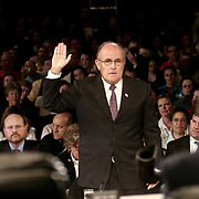 "Rudolph ""Rudy"" Guiliana, Mayor of New York City, testifying at the 9/11 Commission's 11th Public Hearing in New York City."