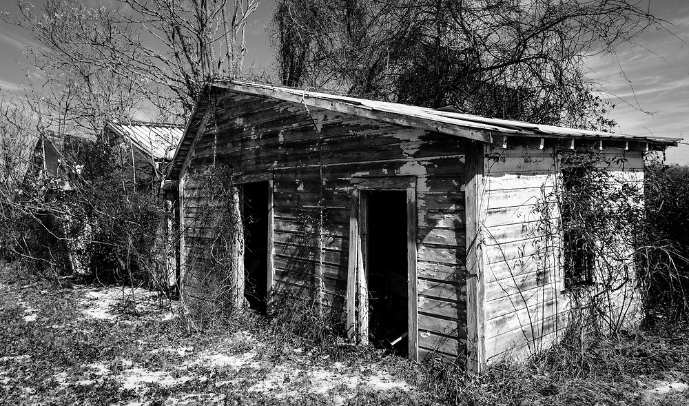 A row sheds at the abounded Willard Diary farm presented numerous opportunities for interesting compositions.  I passed up this subject during my first visit because of the flat lighting.  The snow and sun during my second visit caught my eye this time.