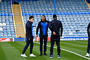 Will Nightingale (5) of AFC Wimbledon and Terell Thomas (6) of AFC Wimbledon on the pitch on arrival before the EFL Sky Bet League 1 match between Portsmouth and AFC Wimbledon at Fratton Park, Portsmouth, England on 1 January 2019.