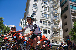 Sara Poidevin (USA) of Rally Cycling Team leans into a corner on Stage 3 of the Amgen Tour of California - a 70 km road race, starting and finishing in Sacramento on May 19, 2018, in California, United States. (Photo by Balint Hamvas/Velofocus.com)