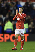 Nottingham Forest forward Tyler Walker (34) applauds the Forest supporters during the The FA Cup 3rd round match between Nottingham Forest and Arsenal at the City Ground, Nottingham, England on 7 January 2018. Photo by Jon Hobley.