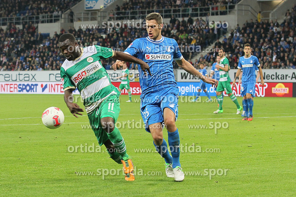 19.10.2012, Rhein Neckar Arena, Sinsheim, GER, 1. FBL, TSG 1899 Hoffenheim vs SpVgg Greuther Fuerth, 08. Runde, im Bild Zweikampf im Hoffenheimer Strafraum zwischen Gerald ASAMOAH (SpVgg Greuther Fuerth), links, und Matthieu DELPIERRE (TSG 1899 Hoffenheim), rechts // during the German Bundesliga 08th round match between TSG 1899 Hoffenheim and SpVgg Greuther Fuerth at the Rhein Neckar Arena, Sinsheim, Germany on 2012/10/19. EXPA Pictures © 2012, PhotoCredit: EXPA/ Eibner/ Ehrmann..***** ATTENTION - OUT OF GER *****