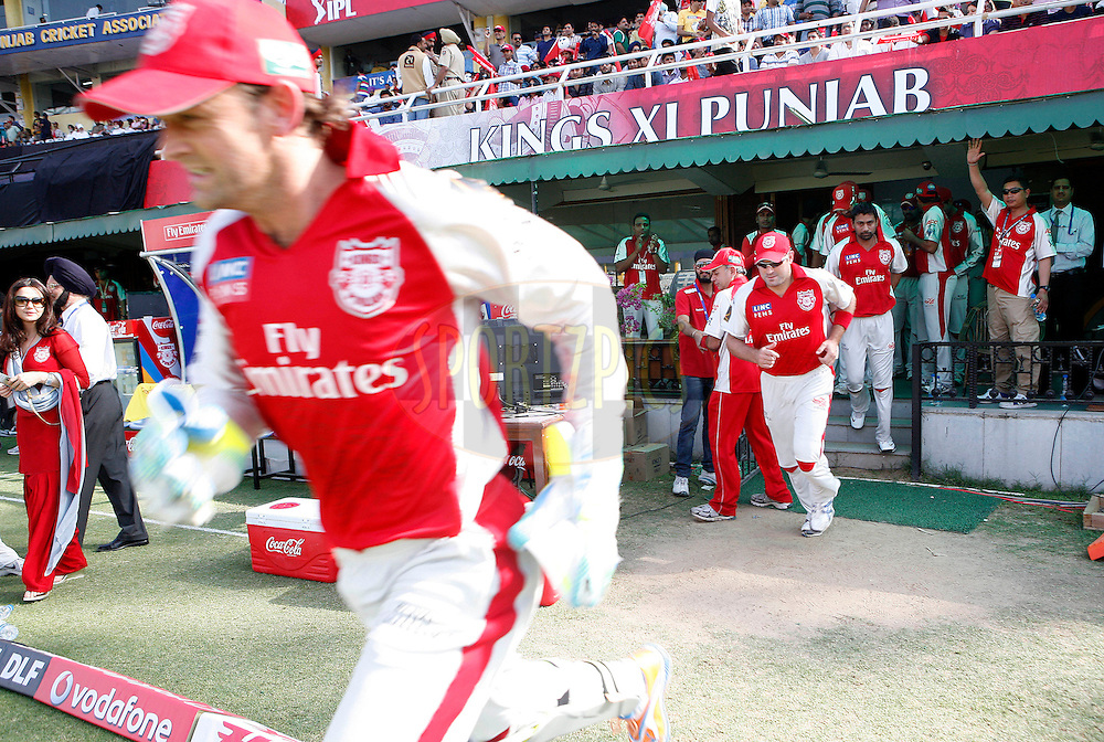 Kings XI Punjab team head towards match during match 9 of the Indian Premier League ( IPL ) Season 4 between the Kings XI Punjab and the Chennai Super Kings held at the PCA stadium in Mohali, Chandigarh, India on the 13th April 2011..Photo by Money Sharma/BCCI/SPORTZPICS
