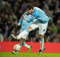 MANCHESTER, ENGLAND - Sunday, February 13, 2010: Manchester City's Roque Santa Cruz wastes a good chance to score late in the game against Stoke City during the FA Cup 5th Round match at the City of Manchester Stadium. (Photo by David Rawcliffe/Propaganda)  MANCHESTER, ENGLAND - Sunday, February 13, 2010: Manchester City xxxx and Stoke City's xxxx during the FA Cup 5th Round match at the City of Manchester Stadium. (Photo by David Rawcliffe/Propaganda)
