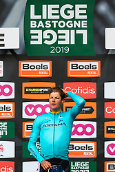 Winner Jakob Fuglsang (DEN) of Astana Pro Team (KAZ,WT,Argon 18) on the podium after the 2019 Li&egrave;ge-Bastogne-Li&egrave;ge (1.UWT) with 256 km racing from Li&egrave;ge to Li&egrave;ge, Belgium. 28th April 2019. Picture: Pim Nijland | Peloton Photos<br /> <br /> All photos usage must carry mandatory copyright credit (Peloton Photos | Pim Nijland)