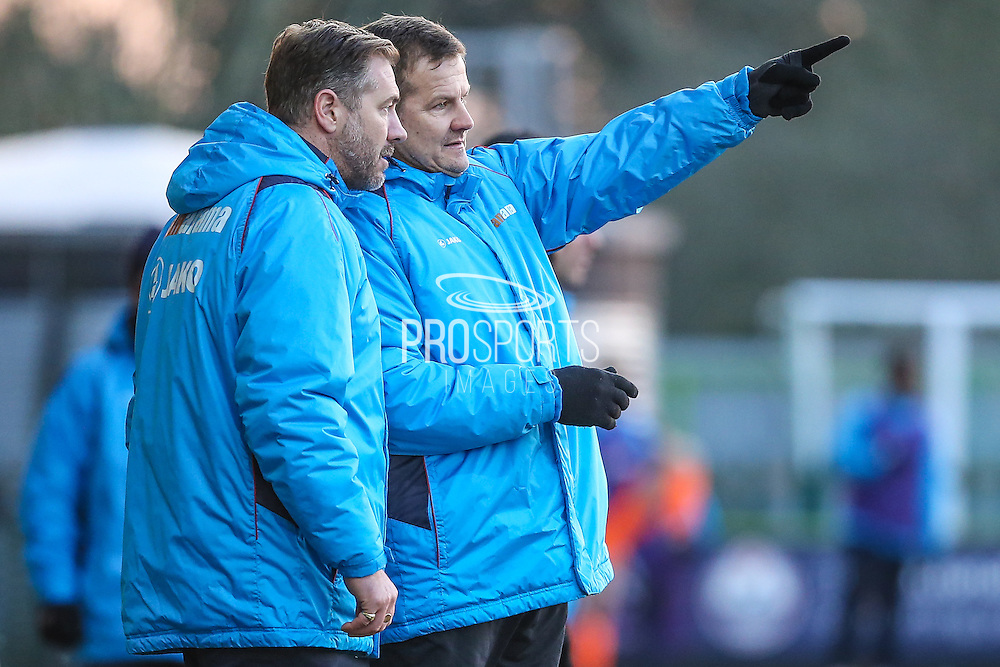 Forest Green Rovers manager, Mark Cooper and Forest Green Rovers assistant manager, Scott Lindsey during the Vanarama National League match between Forest Green Rovers and Braintree Town at the New Lawn, Forest Green, United Kingdom on 21 January 2017. Photo by Shane Healey.