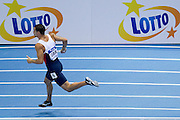 Luke Lennon Ford competes in men's relay 4x400 meters qualification during the IAAF Athletics World Indoor Championships 2014 at Ergo Arena Hall in Sopot, Poland.<br /> <br /> Poland, Sopot, March 8, 2014.<br /> <br /> Picture also available in RAW (NEF) or TIFF format on special request.<br /> <br /> For editorial use only. Any commercial or promotional use requires permission.<br /> <br /> Mandatory credit:<br /> Photo by &copy; Adam Nurkiewicz / Mediasport