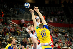 Kent Robin Tonnesen of Norway vs Fredric Pettersson of Sweden during handball match between National teams of Sweden and Norway on Day 7 in Main Round of Men's EHF EURO 2018, on January 24, 2018 in Arena Zagreb, Zagreb, Croatia.  Photo by Vid Ponikvar / Sportida