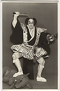 Kabuki actor Jitsukawa Enjaku with another actor in a mouse costume. From Meiboku Sendai Hagi, role name Arajishi Otokonosuke, Kabuki-za Theater, Tokyo, Nov. 1962, silver gelatin bromide.<br />